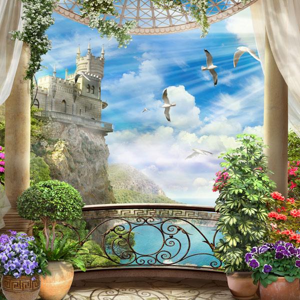 Фотообои замок балкон море цветы