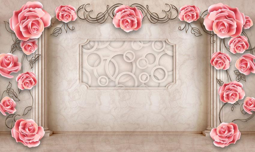 Фотошпалери троянди телевизор стіна 3d