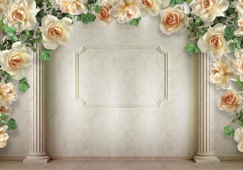 Фотообои 3d колонны розы фон