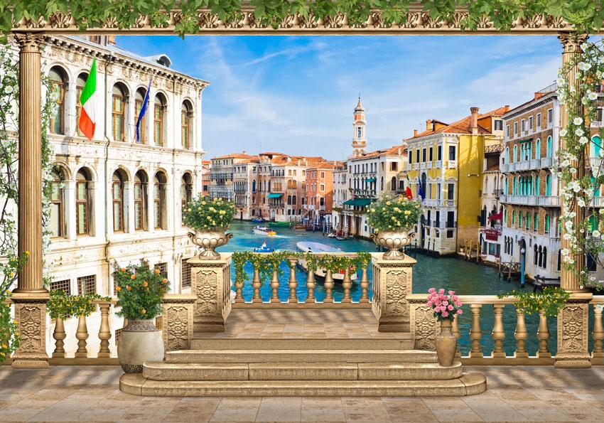 Фотообои канал 3d Венеция терраса