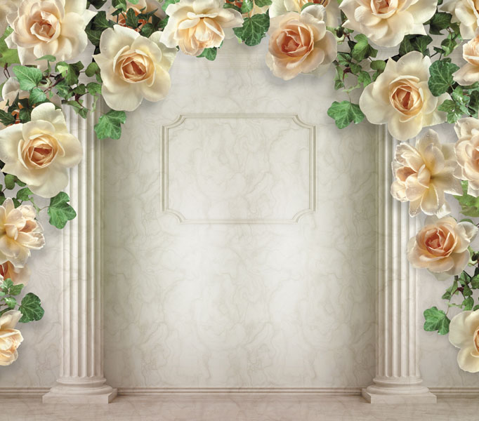 Фотошпалери 3д колони троянди мармор