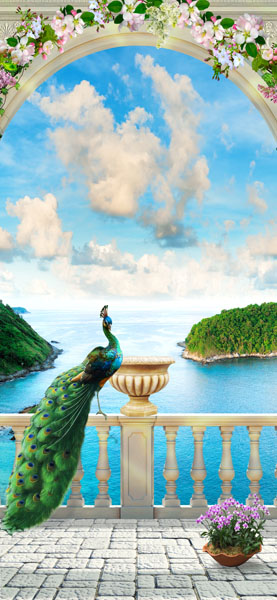 Фотошпалери тераса балкон море квіти