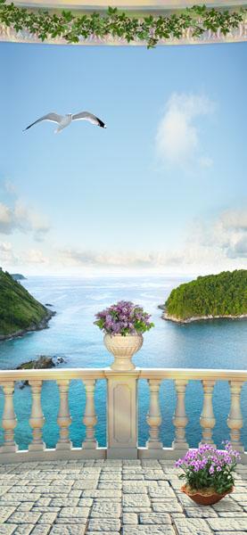 Фотообои терраса балкон море цветы
