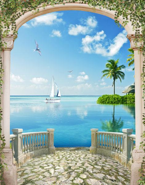 Фотообои 3д балюстрада море остров
