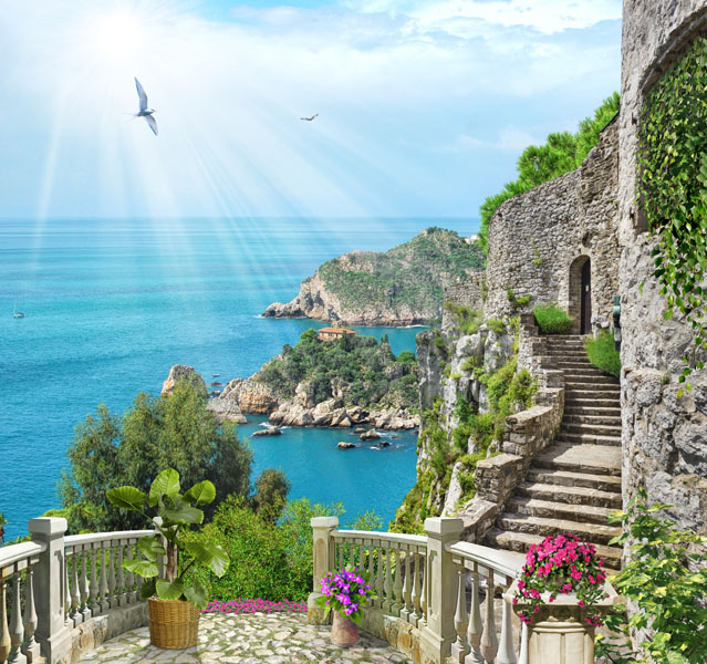 Фотообои балкон 3д море лестница
