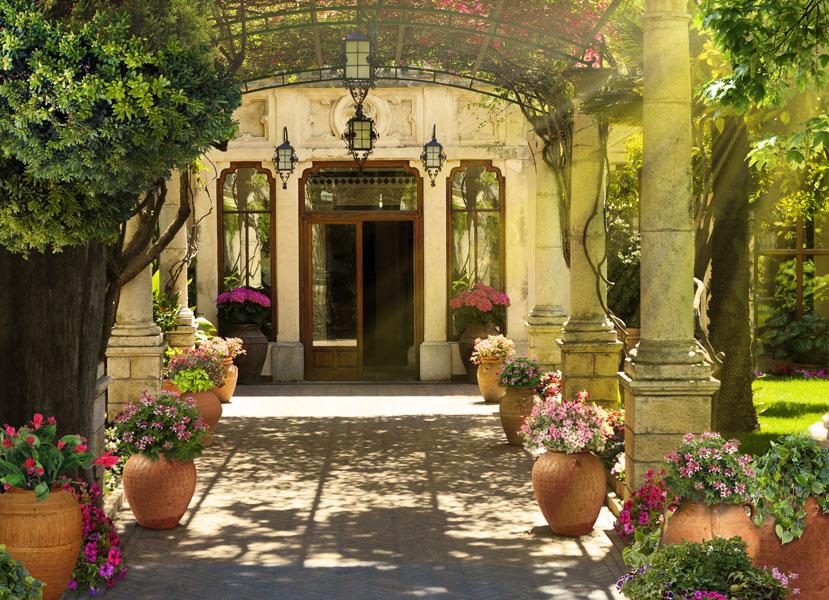 Фотообои 3d, цветы, Италия, дворик