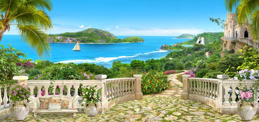 Фотошпалери 3d море балюстрада панорама