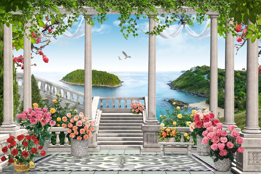 Фотошпалери тераса 3d море квіти