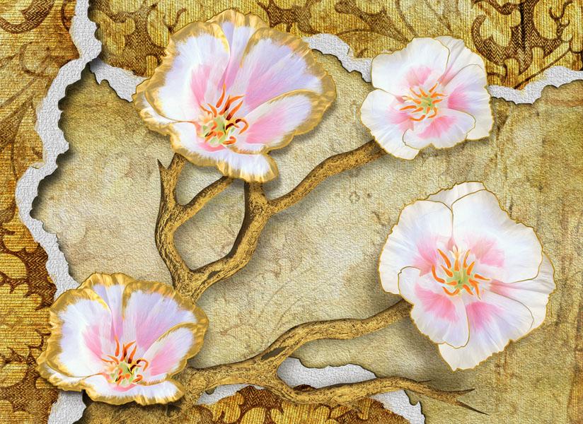 Фотообои 3d цветы гранж wallpaper