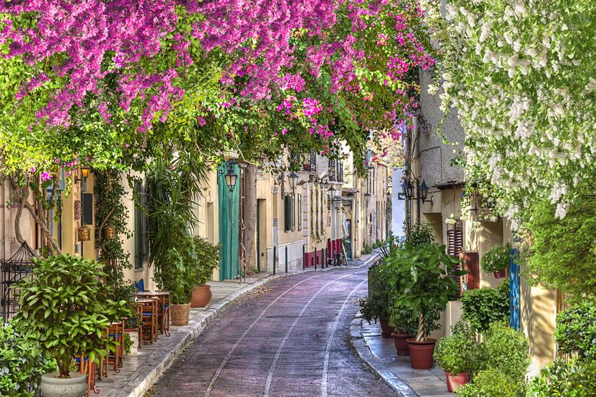 Фотошпалери 3д вуличка квіти Италія