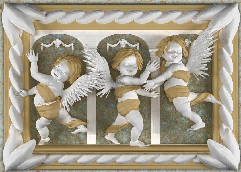 Фотошпалери 3d янгол купидон барельєф