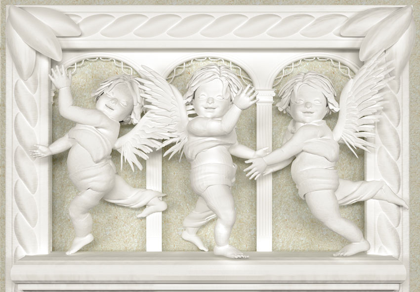 Фотошпалери 3д янголи лепнина скульптура