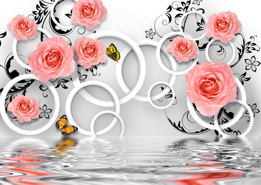 Фотообои 3д роза вода узор
