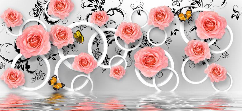 Фотообои 3д роза кольцо отражение