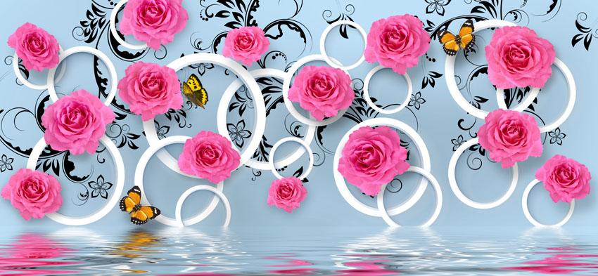 Фотообои 3д роза отражение кольца