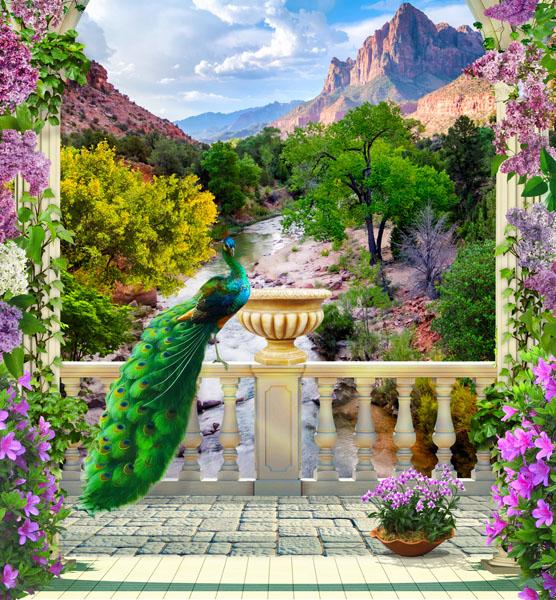 Фотошпалери 3d павич арка квіти