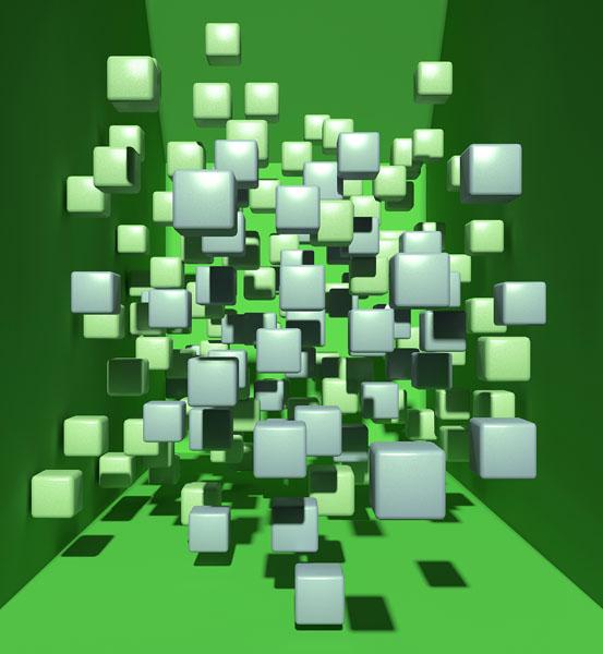 Фотошпалери 3д куб абстракція зелений