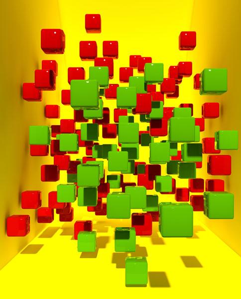 Фотошпалери 3д куб абстракція жовтий