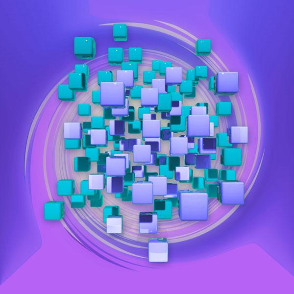 Фотообои 3д куб абстракция сиреневый