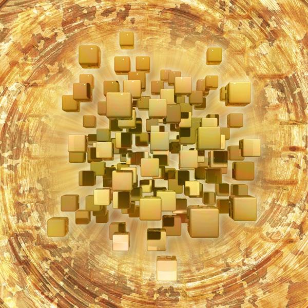 Фотошпалери 3д куб абстракція сепія