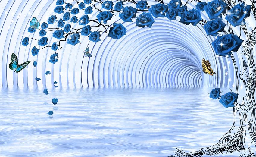 Фотошпалери 3д Сині троянди тунель