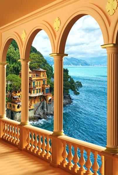 Фотошпалери 3д балкон арка море