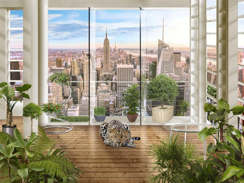 Фотошпалери 3д нью-йорк балкон леопард