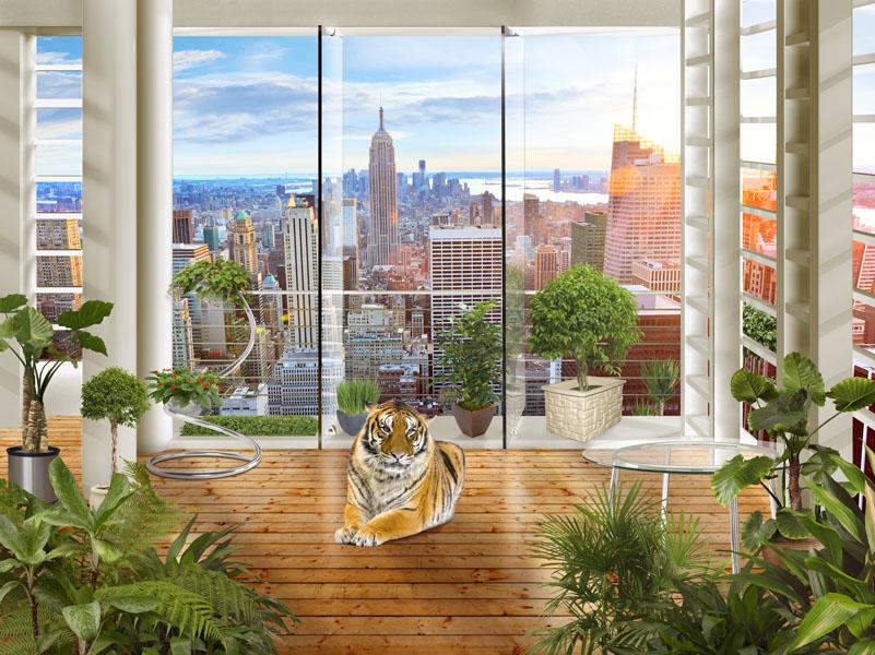 Фотошпалери 3д балкон тигр нью-йорк