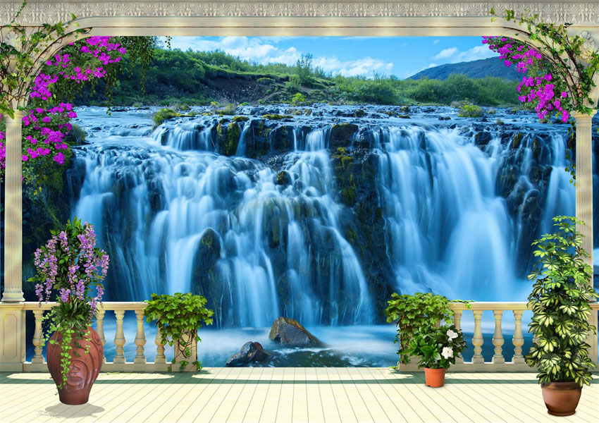 Фотошпалери водоспад тераса колони балюстрада
