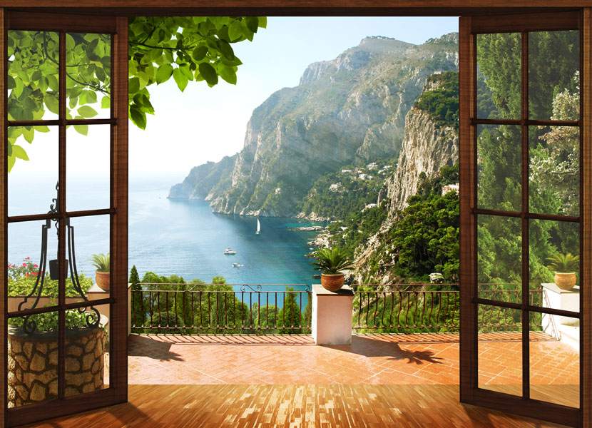 Фотошпалери балкон тераса море гори