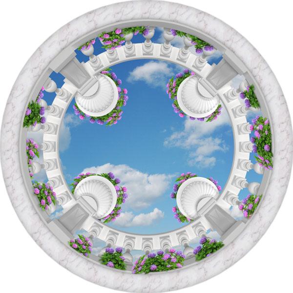 Фотообои небо балюстрада цветы потолок
