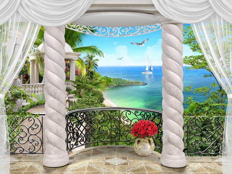 Фотообои 3d балкон терраса море