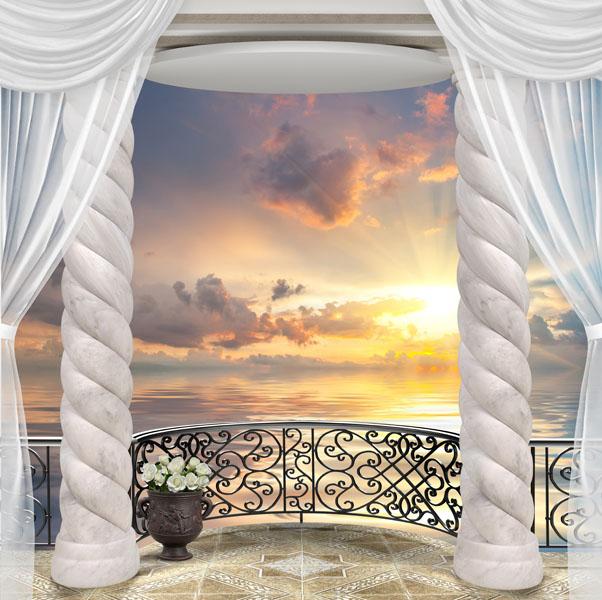 Фотообои 3d балкон арка закат