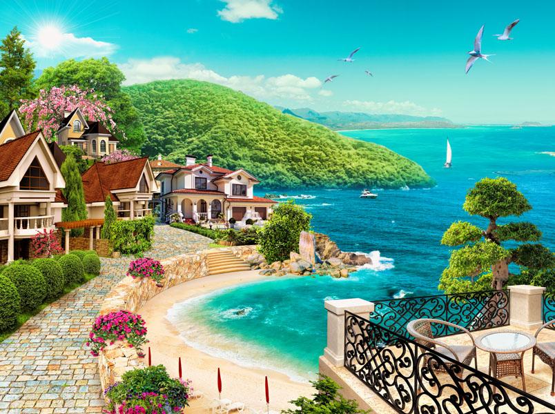 Фотообои 3d волшебный пейзаж море