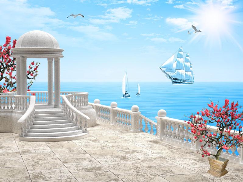 Фотообои ротонда расширение-пространства море балюстрада