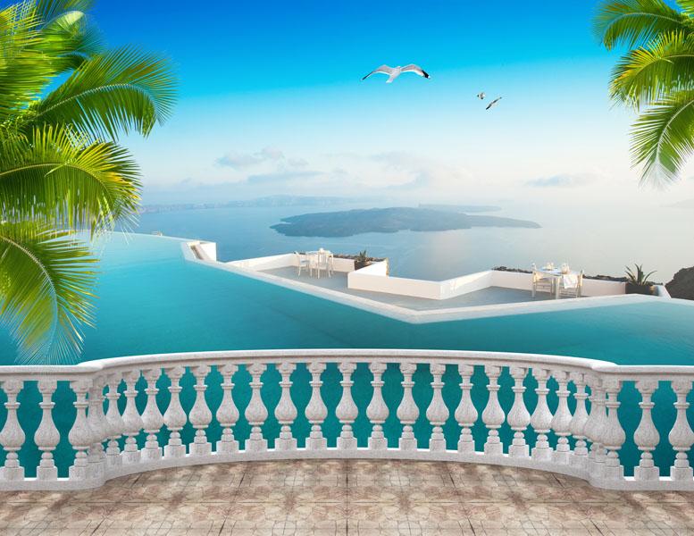 Фотошпалери 3д балюстрада балкон вид