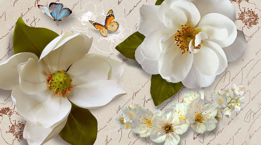 Фотообои 3д цветы бабочки белые