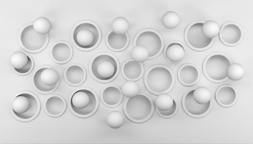 Фотошпалери 3д шары кольца круги