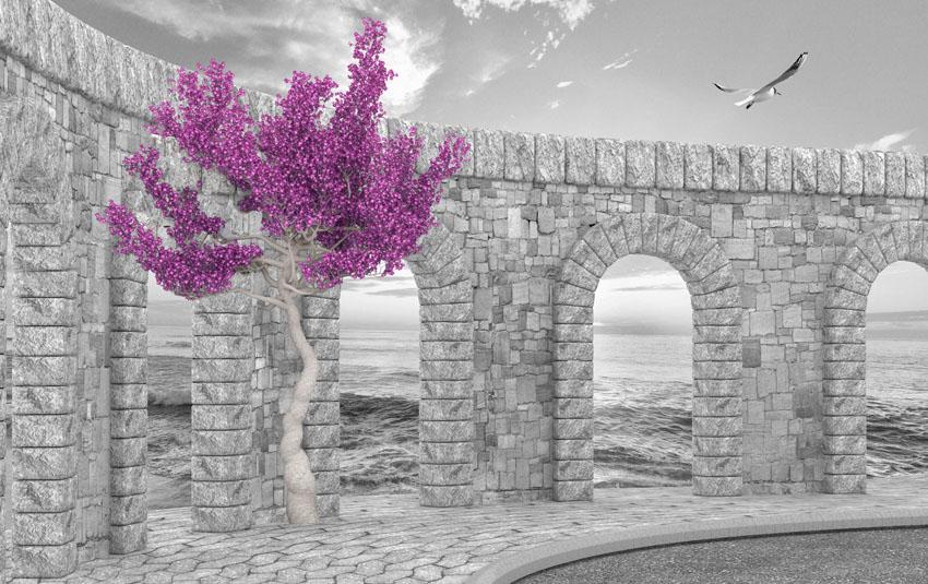 Фотошпалери 3д стіна камінь імітация