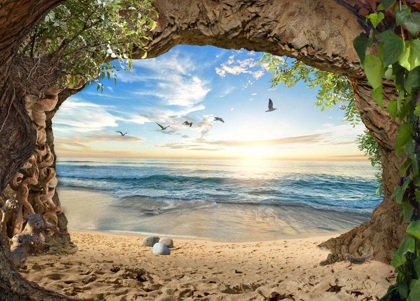 Фотообои 3д пещера океан солнце