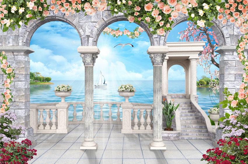 Фотошпалери 3д колонада троянди море