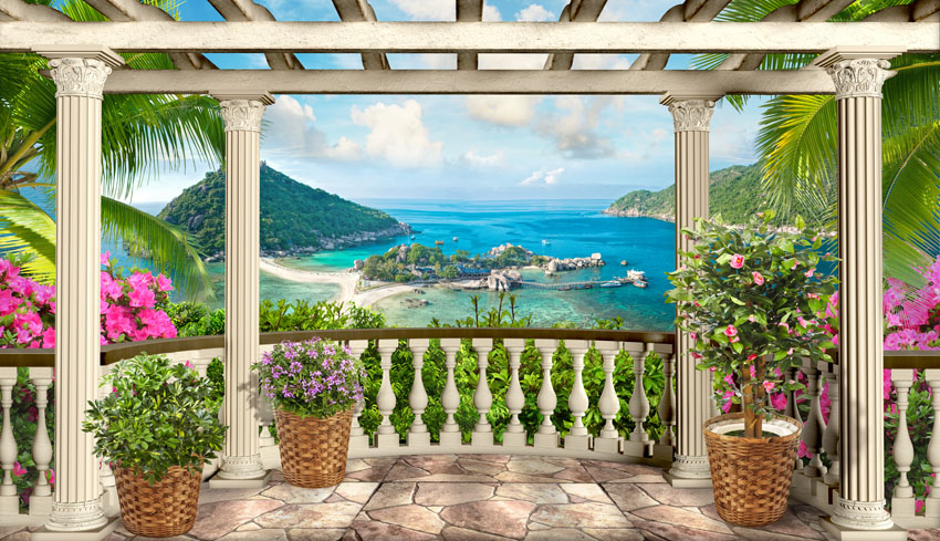 Фотошпалери 3д пергола море балкон