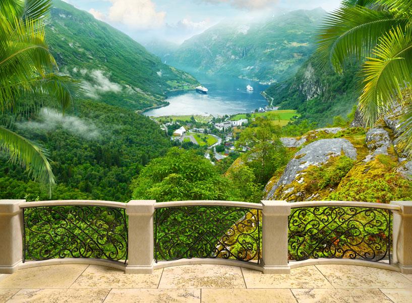 Фотообои расширение пространства балкон вид горы