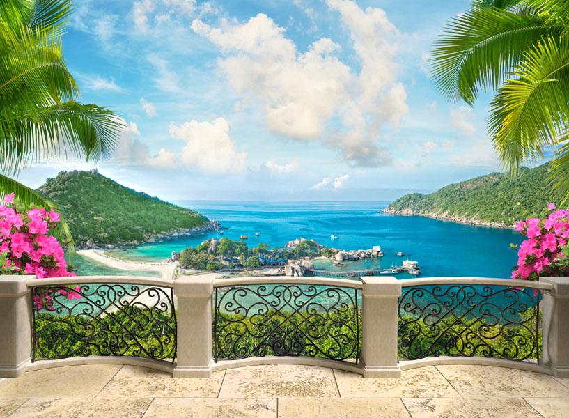 Фотообои расширение пространства балкон вид море