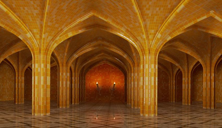 Фотошпалери 3д фреска мозаичный зал