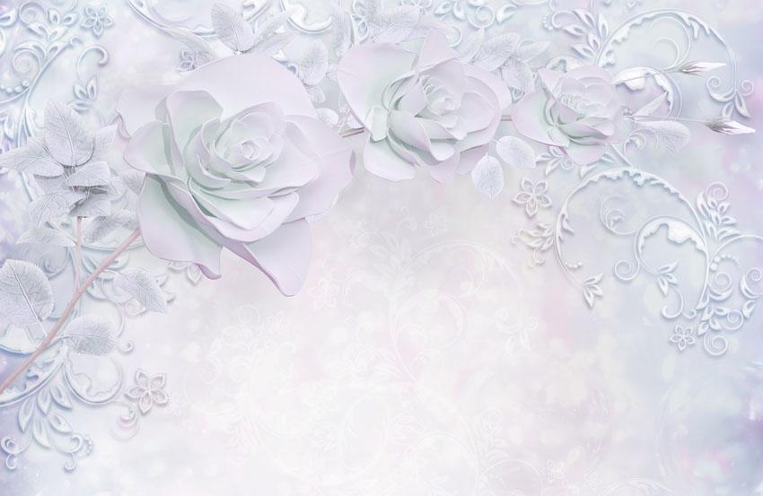 Фотообои 3д стена розы лепнина
