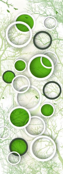 Фотошпалери 3д кільця зеленые вузький