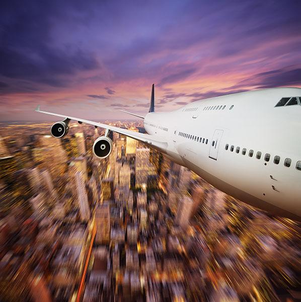 Фотообои самолет город полет авиация