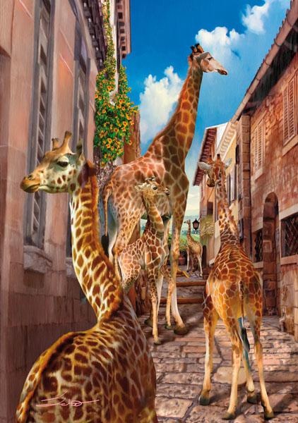 Фотообои город животное жираф арт