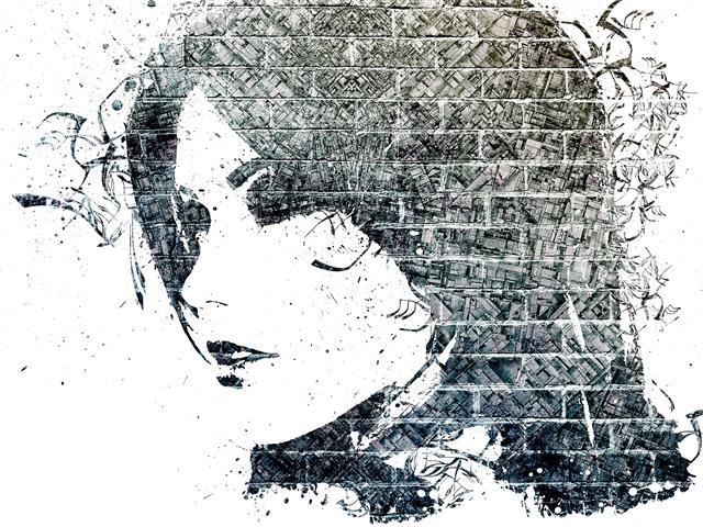 Фотообои искусство девушка стена арт